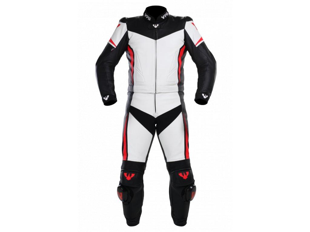 Kombinéza na motorku kožená ARAGON bílá/černá/červená