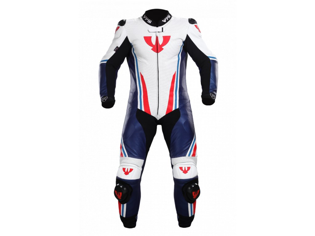 Kombinéza na motorku z klokana RACING RAPTOR bílá/modrá/červená
